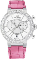 Swarovski Women's Swiss Chronograph Pink Croc-Embossed Leather Strap Watch 38mm 5096008