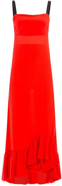 Isa Arfen Silk Dress with Ruffled Hem