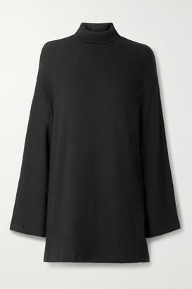 Reformation Aspen Tencel Lyocell-blend Turtleneck Mini Dress - Black