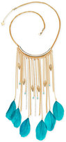 GUESS Gold-Tone Blue Feather and Crystal Fringe Statement Necklace