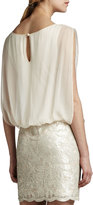 Aidan Mattox Aidan by Blouson-Top Beaded-Skirt Dress