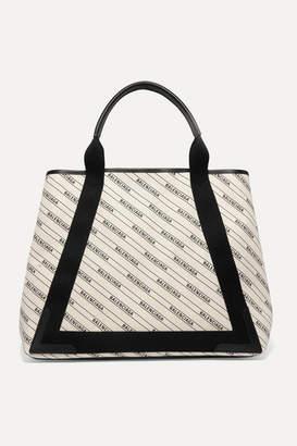 Balenciaga Cabas Medium Leather-trimmed Printed Canvas Tote - Cream