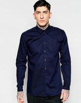 Minimum Smart Shirt In Slim Fit Stretch Cotton In Navy