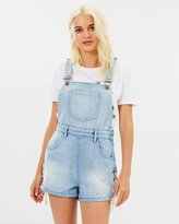 MinkPink Southside Lace-Up Mini Overalls