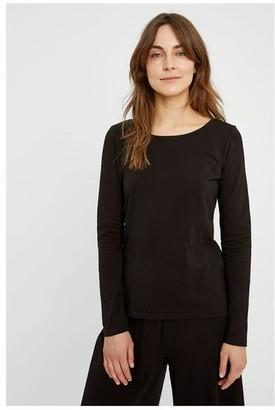 People Tree Black Fallon Organic Cotton Long Sleeve T Shirt - L / noir