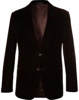 Giorgio Armani Brown Soho Slim-fit Velvet Blazer - Brown