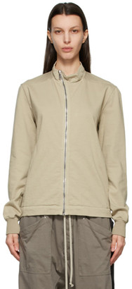 Rick Owens Beige Mollino Zip-Up Sweatshirt