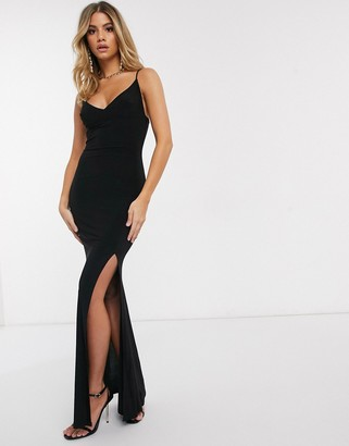 Club L London Club L cami strap maxi dress with thigh split in black