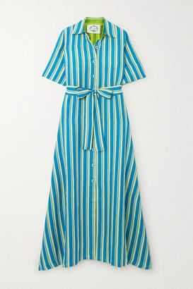 Evi Grintela Sunflower Belted Striped Cotton-poplin Maxi Dress - Blue