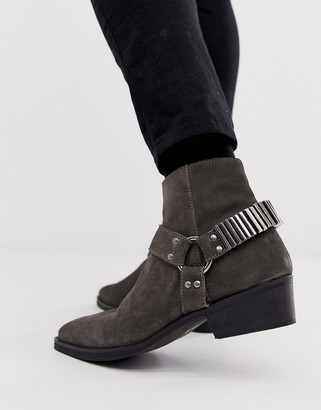 ASOS DESIGN stacked heel western chelsea boots in gray suede with under strap and hardware details