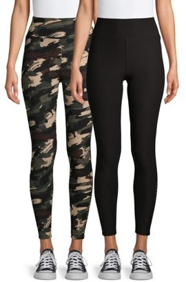 No Boundaries Juniors High Rise Ankle Leggings with Side Bars, 2 Pack