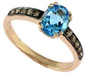 EFFY Bleu Rosé 14 Kt. Rose Gold Blue Topaz & Diamond Ring