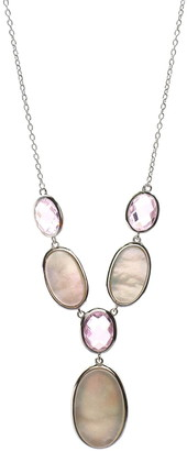 Savvy Cie Rhodium Plated Sterling Silver Mother of Pearl & Created Pink Sapphire Oval Drop Necklace