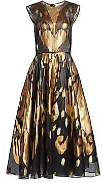 Oscar de la Renta Women's Metallic Ikat A-Line Dress