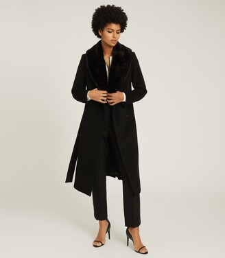 Reiss Pacey - Faux Fur Shawl Collar Overcoat in Black
