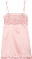 La Perla Secret Story Leavers Lace-trimmed Stretch Silk-blend Satin Chemise - Pastel pink