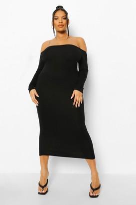 boohoo Plus Off The Shoulder Midaxi Dress