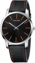Calvin Klein Men's Swiss City Black Leather Strap Watch 43mm K2G211C1