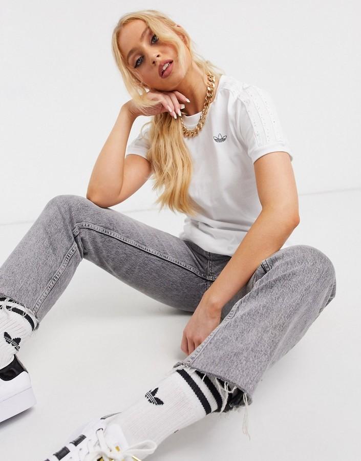 adidas diamante three stripe t-shirt in white