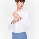 Paul Smith Men's Slim-Fit White Cotton Shirt With Paisley Embroidered Cuffs