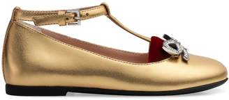 Gucci Toddler metallic leather ballet flat with bow