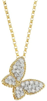 Roberto Coin Princess Treasures 0.25 TCW Diamond, 18K Yellow Gold and 18K White Gold Butterfly Pendant Necklace