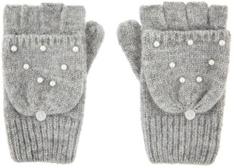 Accessorize Girls Grey Pearl Capped Mittens - Grey