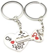 Jiayiqi I Love You Exquisite Heart Key Couple Keychains Cute Lover Gift