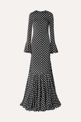 Caroline Constas Allonia Fluted Polka-dot Silk-blend Satin Gown - Black