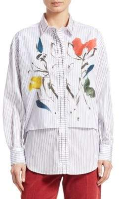 Piazza Sempione Striped Cotton Floral Shirt