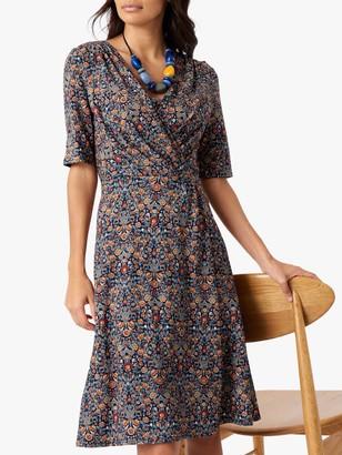 Brora Liberty Jersey Wrap Dress, Navy Woodland