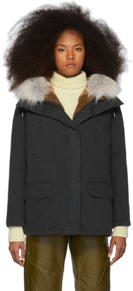 Yves Salomon Army Black Down and Fur Cotton Short Parka