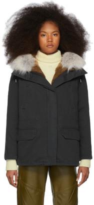 Yves Salomon Army Army Black Down and Fur Cotton Short Parka