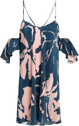 Adriana Degreas Cold-shoulder Printed Silk Mini Dress