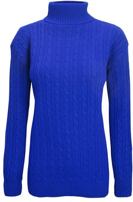 Be Jealous Womens Chunky Cable Knit Polo Neck Sweater Jumper Purple M/L (UK 12/14)