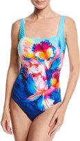 Gottex Hawaii Square-Neck One-Piece Swimsuit, Blue Multi