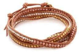 Chan Luu Tri-Tone Beaded Leather Multi-Row Wrap Bracelet