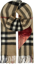 Burberry Sequin heart checked cashmere scarf