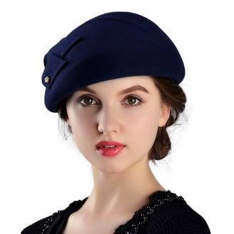 hudh Womens Wool Felt French Berets Bowler Hat Artist Boina Bowknot Cap (Navy)