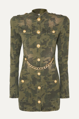 Balmain Chain-embellished Camouflage-print Cotton-blend Jacket - Army green
