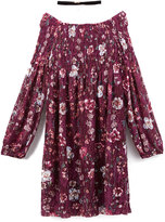 Speechless Burgundy Floral Off-Shoulder Dress & Necklace