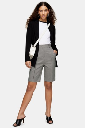 Topshop Womens Black And White Houndstooth Bermuda Shorts - Monochrome