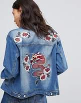 boohoo Embroidered Denim Jacket
