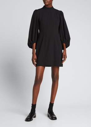 Ganni Heavy Crepe Blouson-Sleeve Dress