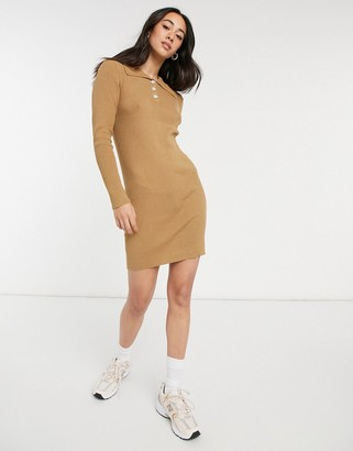 Vila knitted polo dress with button detail in tan
