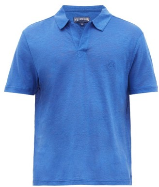 Vilebrequin Logo-embroidered Linen-jersey Polo Shirt - Mens - Mid Blue