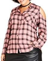 City Chic Plus Cotton Cutout Plaid Button-Down Shirt