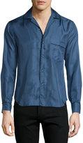 Brioni Button-Front Mini-Print Leisure Shirt, Blue