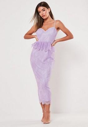 Missguided Lace Diamante Strap Peplum Midi Dress