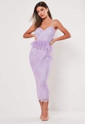 Missguided Lilac Lace Diamante Strap Peplum Midi Dress